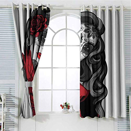 hengshu Skull Patio Door Curtains for Bedroom Sexy Sugar Skull Lady with Mexican Style Floral Mask Evil Gothic Dead Art Thermal Insulated Noise Reducing W52 x L63 Inch Grey White Black Red