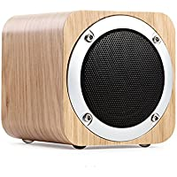 Mofek Portable Bluetooth 4.0 Speaker with FM Radio, Wireless Wood Home Speaker Support AUX TF Card MP3 Player
