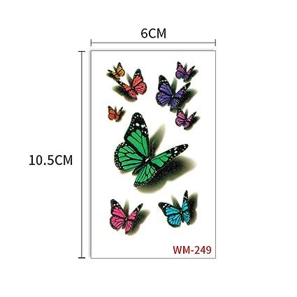 Etiquetas engomadas del tatuaje de la mariposa negro herida azul ...