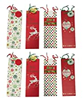 """Set of 8 Christmas Bottle Gift Bags with Handle 15""""x5""""x4"""" Four Different Styles"""