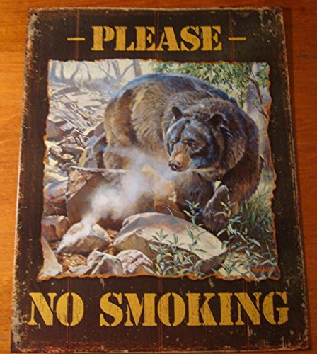 Please No Smoking Rustic Black Bear Lodge Log Cabin Camping Home Decor Sign