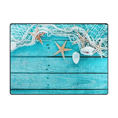 My Little Nest Area Rug Sea Shells Wooden Boards Pattern Lig