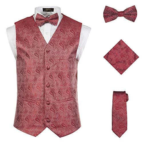(Vittorino Men 's 4 Piece Formal Paisley Vest Set With Tuxedo Vest Tie Hankerchief Bow Tie,Red,Large)