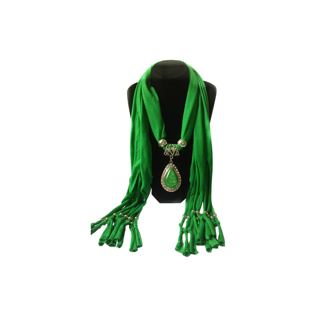 Green Cotton Scarf Shawl in Silver with Vintage Charm Elegant Studded Crystals Teardrop Shape Pendant