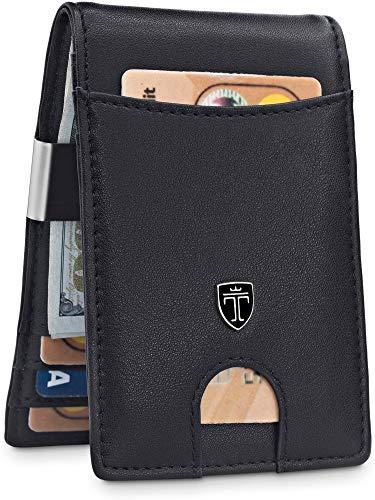 "TRAVANDO Money Clip Wallet""RIO"" - Mens Wallets slim Front Pocket RFID Blocking Card Holder Minimalist Mini Bifold Gift Box (Black and Black)"