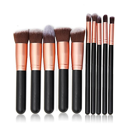 Lospu HY Professional Make Up Brushes Cosmetic Set Dailt Foundation Blusher Fan Brush Face Powder for Make up School / Salon / Wedding Christmas Halloween Party / Daily Foundation (Black-rose (Halloween Mascara Makeup)