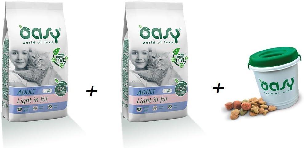 Pienso Gato oasy Light Cat 2 x 1, 5 kg + portacrocchette: Amazon.es: Jardín
