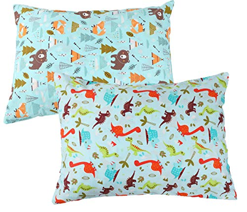 Toddler Pillowcase Zippered Set 2 Pack 100% Cotton Fits 14×19 and 13×18 Toddler Pillows for Boy and Girl Cute Dinosaur…