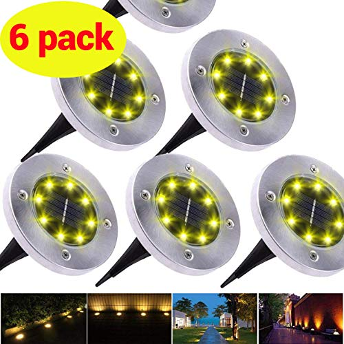 ROSE RAIN Solar Ground Waterproof Lights,Landscape Walkway Waterproof In-Ground Solar Lights,Garden Pathway Outdoor in-Ground Lights, 8 LED (6 Pack) Warm White Lights