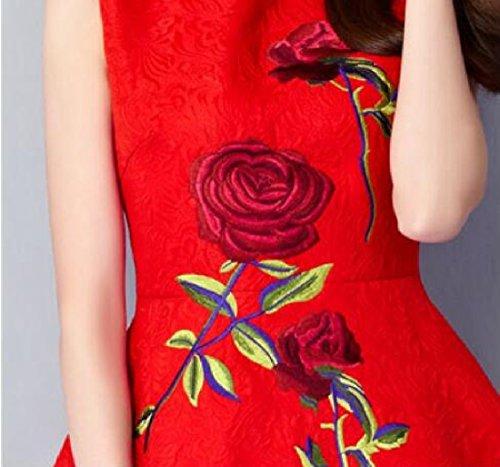 Coolred-femmes Jupe Ligne Motif D'impression Sans Manches Courtes Robes Rouges