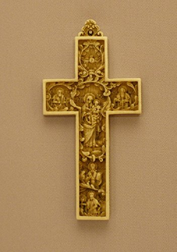 Byzantine Cross with Madonna and Child in the Center God the Father, Son, and Holy Spirit and Saints Peter and Paul in antiqued alabaster, 6.5 inches. Made in Italy by GSV001
