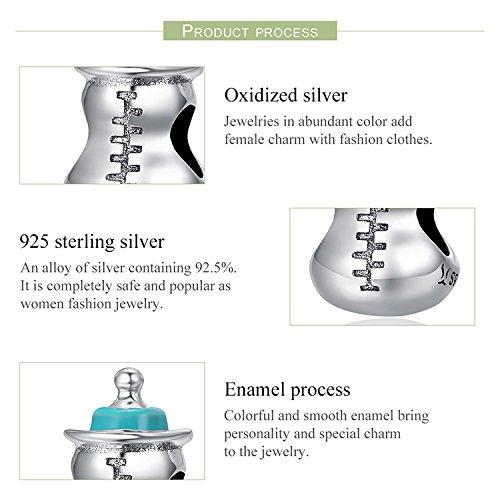 EyeCandy UK Breloque en argent sterling 925/authentique en forme de biberon pour bracelets ou colliers de femmes /à breloques