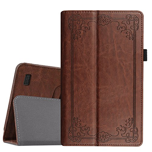 r All-New Amazon Fire 7 Tablet (7th Generation, 2017 Release) - Slim Fit PU Leather Stand Cover Auto Wake/Sleep, Compatible with Fire 7 (5th Gen, 2015), Vintage Antique Bronze ()