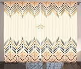 Cheap Geometric Decor Curtains by Ambesonne, Vintage Primitive Aztec Native American Motif with Folk Art Effect Print, Living Room Bedroom Window Drapes 2 Panel Set, 108W X 63L Inches, Peach Amber