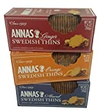 Annas Swedish Thins Assortment, Six 5.25oz boxes, 2 each of 3 flavors, 2 Ginger, 2 Orange & 2 Almond Thins