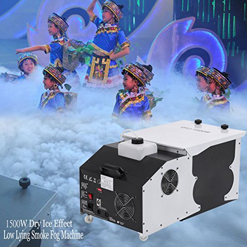 Ridgeyard 1500W Low-Lying Dry Ice Effect Fog Machines 2.5L Ground Smoke Fogger with Wireless Remote Control Great for Stage Effecting Wedding Christmas Party Show Theater -