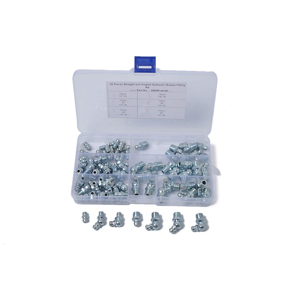 Morelyfish 80PCS Zinc Plating Hydraulic Grease Zerk Zirk Set Fitting Assortment Straigt 90 45 Degree Oil Nozzle Kit