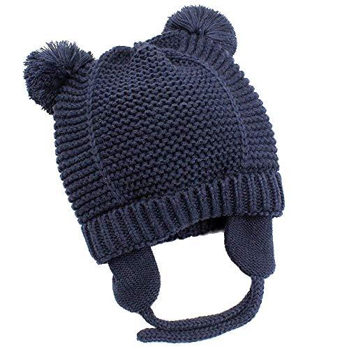hibshaby Baby Beanie Warm Hat-Infant Boys Hat Cute Bear Knit Toddler Girls Earflap Soft Warm Fall Winter Dark Blue(12-24M)
