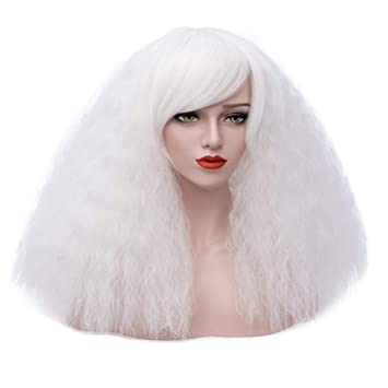 ELIM White Wigs for Women Short Fluffy Curly