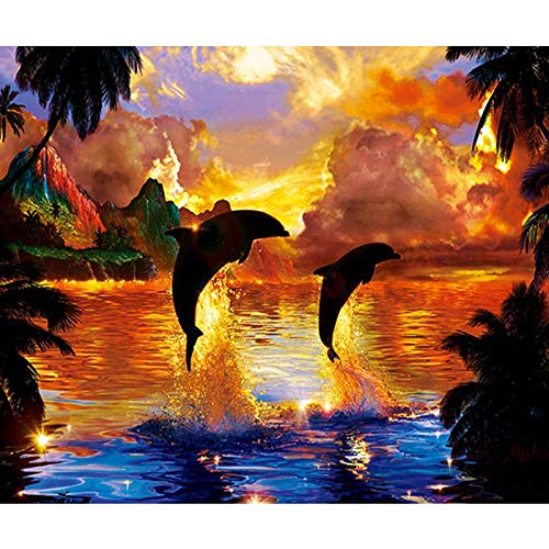Diy 5D Diamond Painting By Number Kit, Full Drill Tropical Palm Tree Dolphin?Embroidery Cross Stitch Arts Craft Canvas Wall Decor, 19.7X27.6 - Tropical Palm Diamond Tree