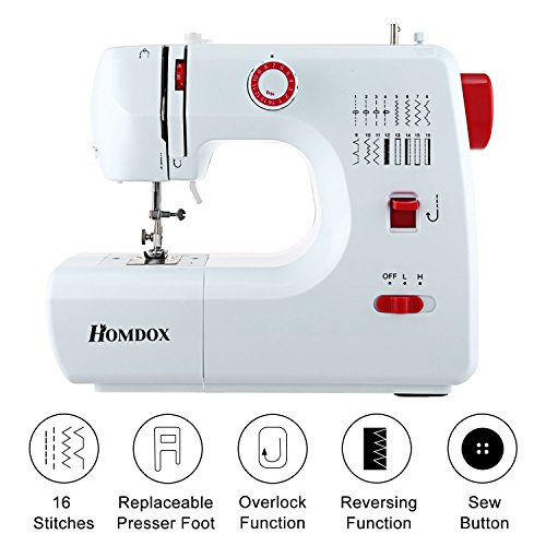 Meditool Sewing Machine Household Multifunction Double Thread and Speed Free-Arm Crafting Mending Machine with 16 Stitches - White & Red by Meditool
