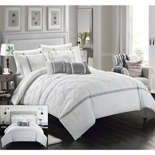 Chic Home 10 Piece Dorothy Comforter Set, King, White