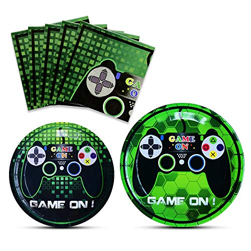 WERNNSAI Game Party Supplies Kit - Video Game Themed Party Packs for Boys Kids Birthday Baby Shower Game Lovers Dinner Dessert Plates Napkins Serves 16 Guests 48 Pieces Boy 7' Dessert Plates