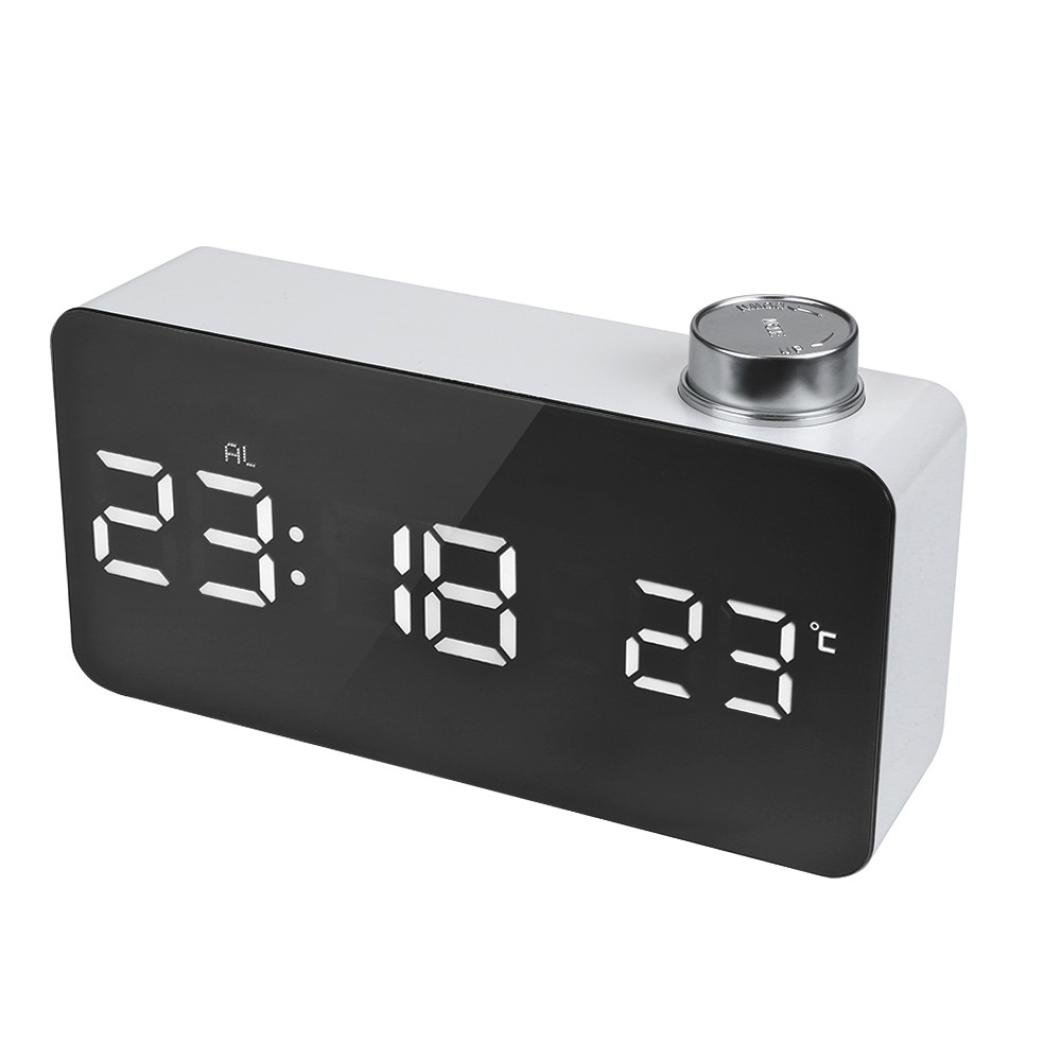 Ounice LED Alarm Clock Digital Mirror Clock USB & Battery Operated 12H/24H Display Alarm With Temperature Display by Ounice (Image #2)