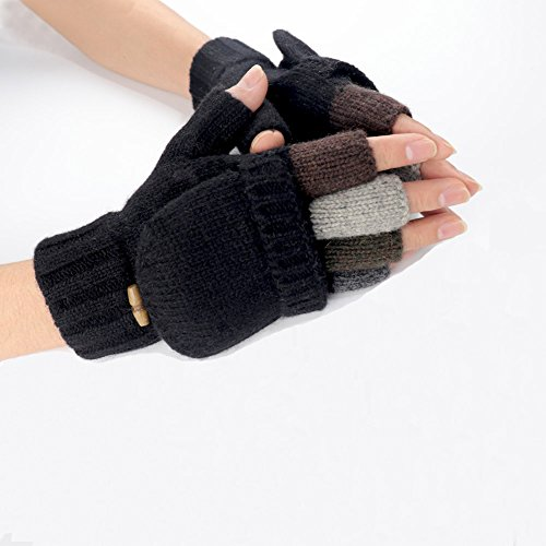Knit Mittens Winter Gloves Wool Warm Gloves Fingerless Gloves with Mittens Cover Cap (Black) by Kay Boya (Image #5)