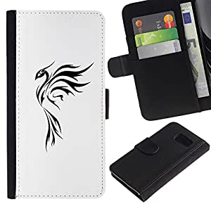 All Phone Most Case / Oferta Especial Cáscara Funda de cuero Monedero Cubierta de proteccion Caso / Wallet Case for Samsung Galaxy S6 // Tattoo Art Simple Black White
