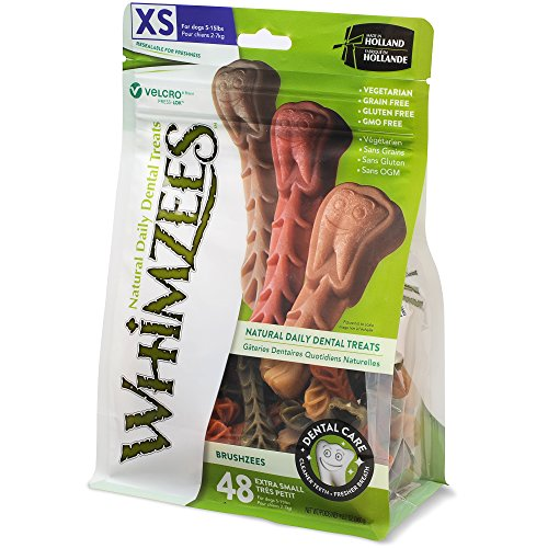 (Whimzees Natural Grain Free Dental Dog Treats, Extra Small Brushzees, Bag Of)