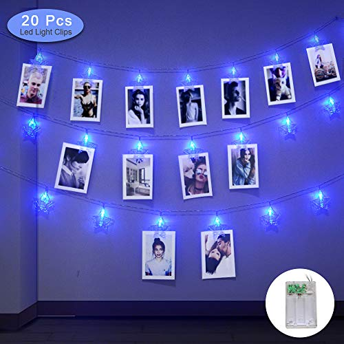 Sunnyac 20 LED Photo Clips String Lights, 10 Ft Indoor Fairy Light Clips for Hanging Photos, Pictures, Christmas Cards, Starry Twinkling Wall Decoration Lamps, Battery or USB Powered (Blue) (Holder Light Christmas Card String)