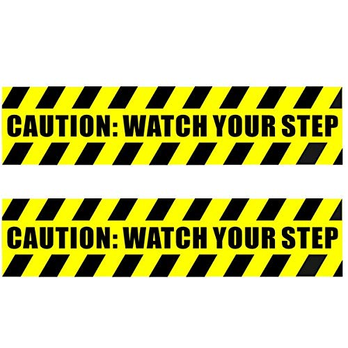(2 Pack) 13.78 X 3.15 CAUTION WATCH YOUR STEP Warning Sign Sticker Decal - Back Self Adhesive Vinyl