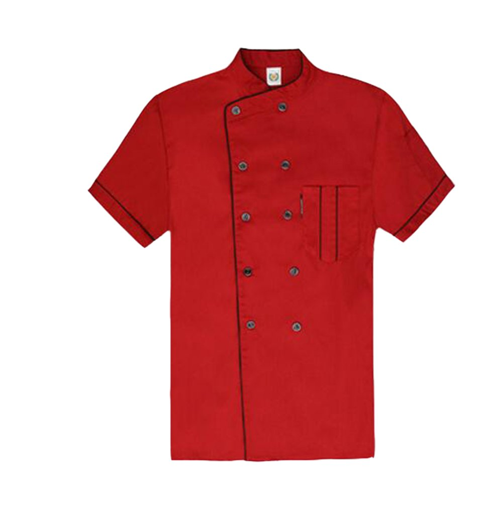 TopTie Short Sleeve Chef Jacket Kitchen Cook Coat Stripe Uniforms-Red-M