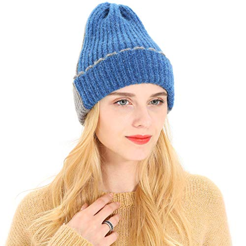 (Guoo Women's Winter Warm Two-Tone Ribbed Knit Cuff Beanie Hat with)