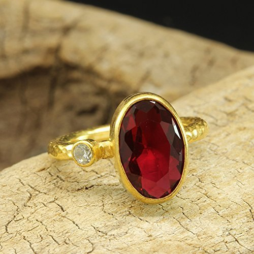 Red Ruby Color Faceted Oval Cubic Zirconia Ring 925 Sterling Silver 24K Yellow Gold Vermeil Handcrafted Hammered Handmade Artisan Right Hand Ring