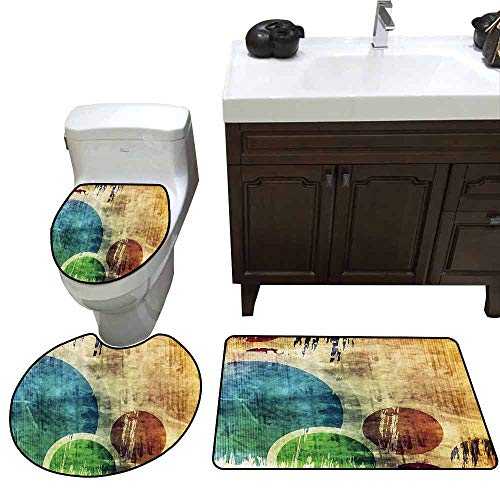 3 Piece Toilet mat Set Grunge Colorful Funky