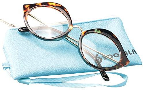 SOOLALA Unique 55mm Lens Cat Eye Reading Glass Stylish Designer Eyeglass Frame, Leopard, +2.0