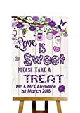 Vintage Wood Effect Love Is Sweet Candy Buffet Personalized Wedding Sign