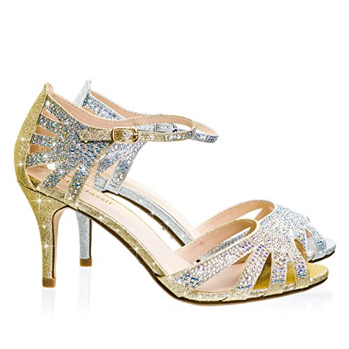 City Classified Reason Light Gold Mid Heel Rhinestone Glitter Gladiator Wedding Party Sandal w Ankle Strap -7 (Cone Heel Ankle Strap)