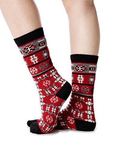 Luxury Alpaca Lightweight Blend Boot/Performance Socks Multicolour Crew Snowflake (Dead Money Snow Globe)