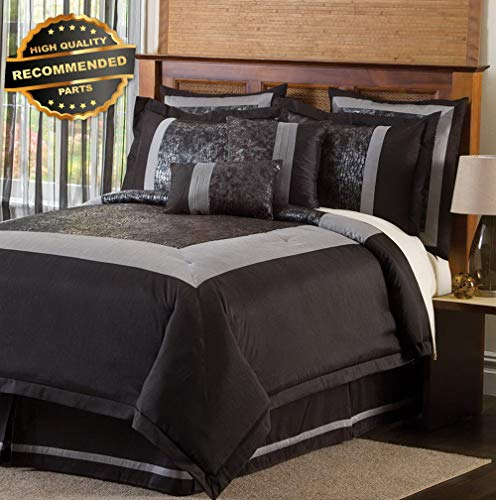 Gatton Premium New Croc 8-Piece Comforter Set, King, Black/Silver   Style Collection Comforter-311012748