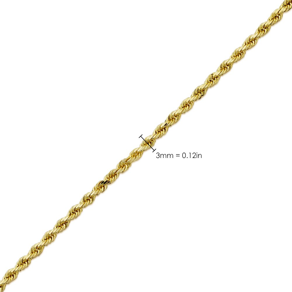 LoveBling 10K Yellow Gold 3mm 22'' Solid Diamond Cut Rope Chain Necklace with Lobster Lock by LOVEBLING (Image #5)