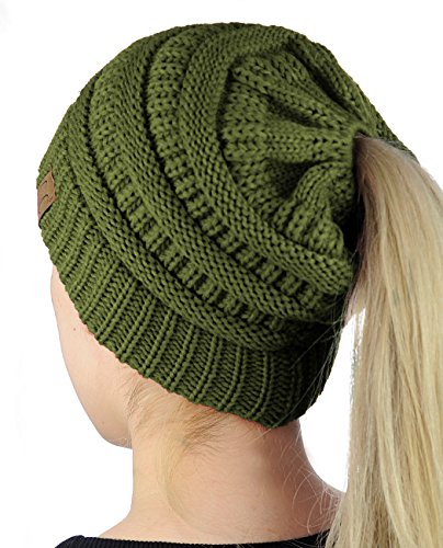 C.C BeanieTail Soft Stretch Cable Knit Messy High Bun Ponytail Beanie Hat, Olive