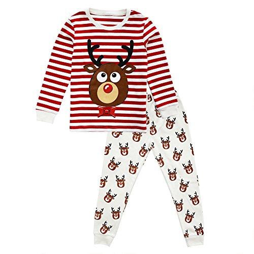 Little Girls Boys Pjs Kids Christmas Pajamas Set Toddler 2-Piece Sleepwear, (Reindeer, 5T)