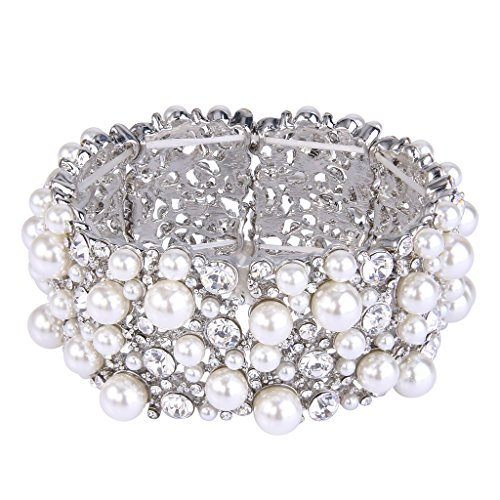 EVER FAITH Women's Austrian Crystal Simulated Pearl Bridal Elestic Stretch Bracelet Clear Silver-Tone -