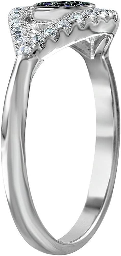 Princess Kylie Blue and Clear Evil Eye Open Shank Designer Ring Rhodium Plated Sterling Silver
