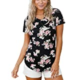 Women Summer Round Neck Floral Printed T Shirt Rose Casual Tunic Top Short Sleeve Blouse Tops by Lowprofile