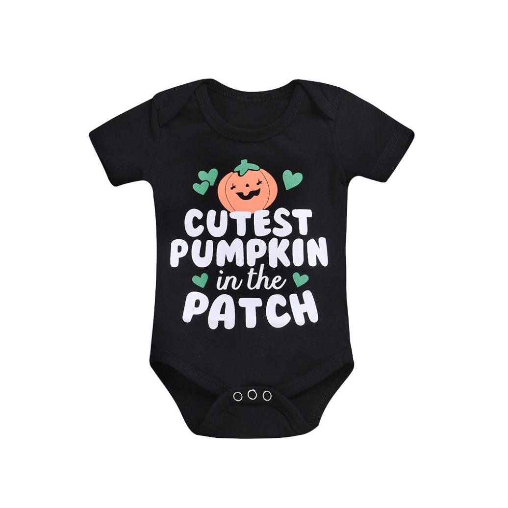 Xshuai for 0-24 Months Kids, Fashion Newborn Infant Baby Girls Boys Clothes Letter Print Romper Jumpsuit Halloween Outfits Xshuai for 0-24 Months Kids