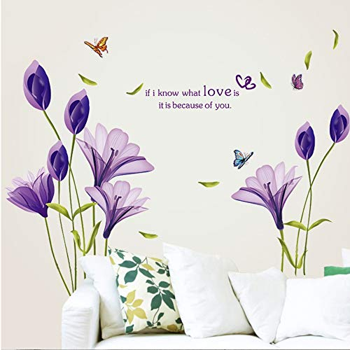 Mznm 110180Cm Love Purple Lily Flower Butterfly Removable Living Room Tv Backdrop Wall Stickers Sofa Home Decor Wedding Decorarion ()